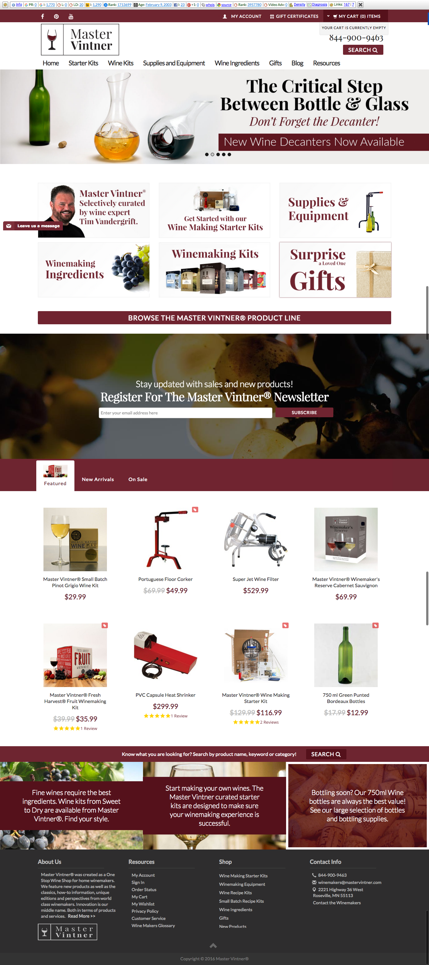 Master Vintner WEbsite Design